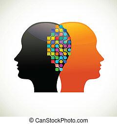 denken, leute, kommunizieren, talk