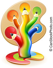 Der Baum der Farbstifte, kreatives Kunstkonzept