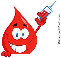 Der Bluttyp hält eine Spritze