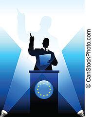 Der Führer der Europäischen Union hält eine Rede auf der Bühne