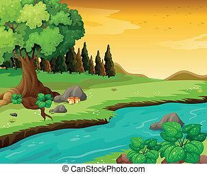 Der fließende Fluss im Wald.