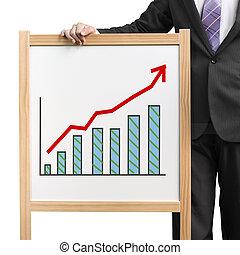 Der Geschäftsmann hält Holzweißplatten mit florierendem Markttrend und Histogrammzeichnung im weißen Hintergrund.