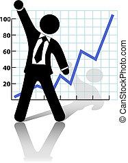 Der Geschäftsmann hebt die Faust, um den Erfolg des Wirtschaftswachstums zu feiern