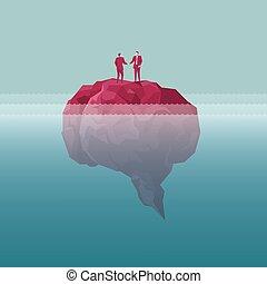 Der Geschäftsmann schüttelt sich die Hände auf der Insel, die Insel ist in der Form eines Gehirns. Das Meer ist tief.