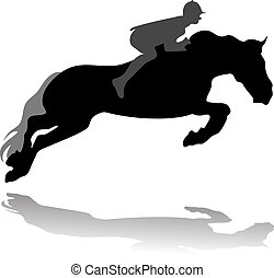 Der Jockey mit dem Springpferd