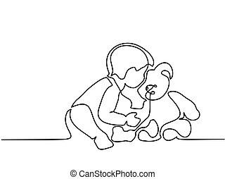 Der Junge sitzt mit Teddybär