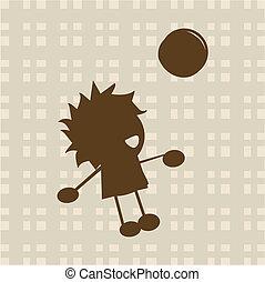 Der kleine Junge spielt mit dem Ball