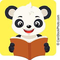 Der kleine Pandabär liest ein Buch