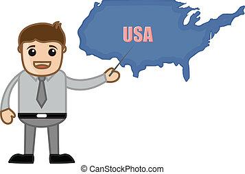 Der Lehrer zeigt USA-Karte