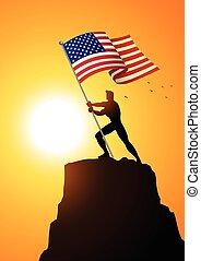 Der Mann, der die Flagge der Vereinigten Staaten von Amerika hält.
