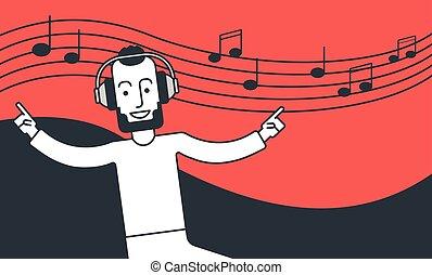 Der Mann hört Musik und tanzt.