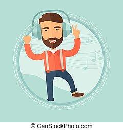 Der Mann in Kopfhörern tanzt Vektorgrafik.