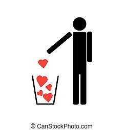Der Mann wirft ein paar rote Herzen in den Müll.
