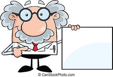 Der Professor zeigt ein leeres Zeichen