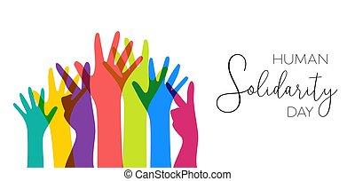 Der Tag der menschlichen Solidarität illustriert bunte Hände.
