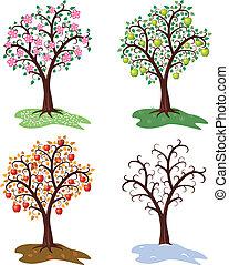 Der Vektor hat vier Jahre Apfelbaum