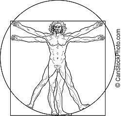 Der vitruvianische Mann (Outline Fassung)