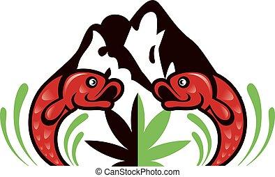design., cannabis, fischen abbild