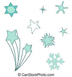 design., dekorativ, sternen, element, hintergrund., freigestellt, weißes
