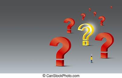 design, frage, 3d, hintergrund, schauen, licht, problem, graue , lösen, begriff, leute, gelber , vektor, abbildung, markierung, zwiebel