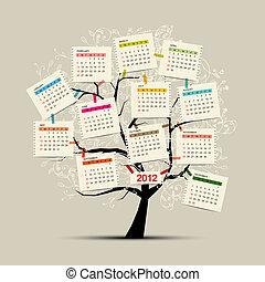 design, kalender, baum, dein, 2012