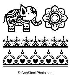 design, mandala, satz, t�towierung, elefant, blumen-, vektor, indische , mehndi, -, paterns, elemnents, mandala, henna