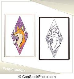 Design-Poster im Rahmen Fuchs