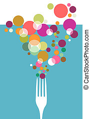 design., restaurantmenü, besteck