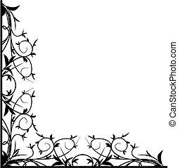 Design-schwarze Blumenecke