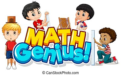 design, wort, glücklich, mathe, genie, kinder, schriftart