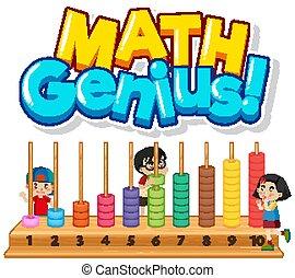 design, zahlen, mathe, genie, kinder, schriftart