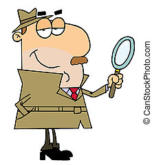 detektiv, karikatur, kaukasier, mann