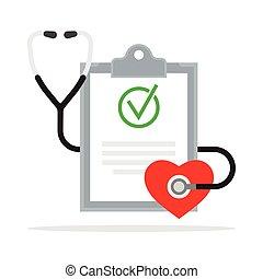 Diagnose. Medizinischer Bericht mit Stethoskop