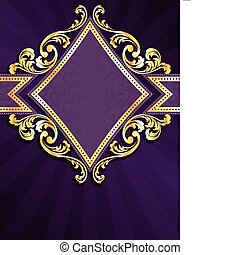 Diamond hat lila & goldfarbenes Banner geformt