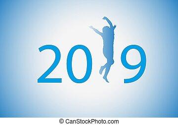 Die 2019-Figur war blau. Silhouette eines Mädchens, das statt 1 tanzt.