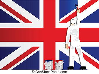 Die britische Flagge malen