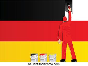Die Flagge der Deutschen malen