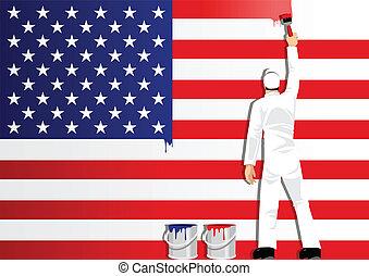 Die Flagge der USA malen