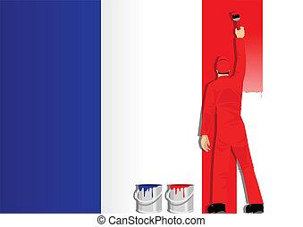 Die Flagge von Frankreich malen