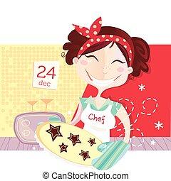 Die Frau macht Weihnachtskekse