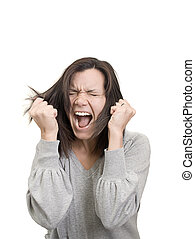 Die Frau schreit und zieht ihre Haare in Frustration