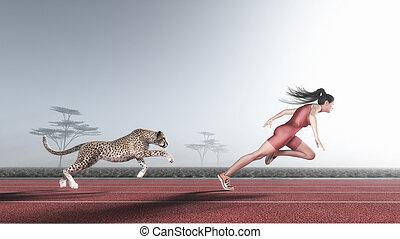Die Frau tritt mit einem Gepard an