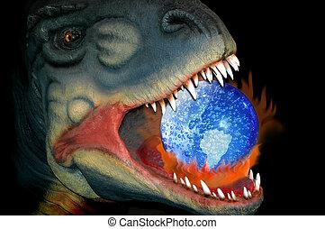 Die globale Erwärmung und die Art des Dinosauriers