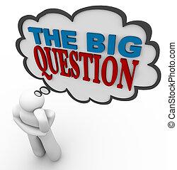 Die große Frage - denkende Person stellt in Gedankenblasen.
