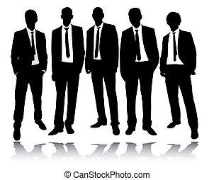 Die Gruppe der Geschäftsleute steht