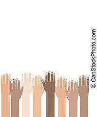 Die Hände vieler farbiger Menschen erhoben. Illustration der Menschenrechtstage Hintergrund.