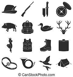 Die Jagd auf Set-Icons im schwarzen Stil. Große Sammlung von Jagd vektorgrafik Symbol.