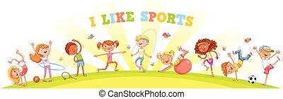 Die Kinder haben verschiedene Sportarten im Naturbereich