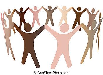 Die menschlichen Hauttöne verschmelzen in den Ring verschiedener Menschen.