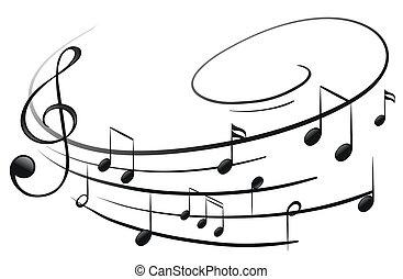 Die Musiknoten mit dem G-Clef